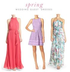 What to wear to a spring wedding with picks for this season's wedding guest dresses and wedding guest attire for April, May, and June Weddings. Cute and pretty dresses to wear to a spring wedding.
