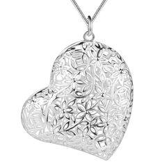 Сердце любовь hollow посеребренная Ожерелье Серебряный Кулон Ювелирные Изделия/APYEPMAJ…