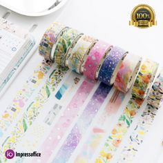 5Pcs//box Flower Series DIY Washi Sticker Paper Masking Adhesive Tape Crafts Gift