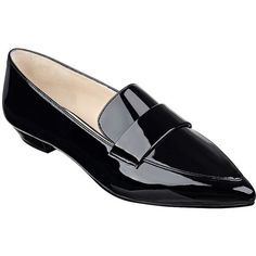 Nine West Truethat Point Toe Loafers (1,505 MXN) ❤ liked on Polyvore featuring shoes, loafers, black, shiny shoes, pointed toe shoes, black patent loafers, black patent leather shoes and patent loafers