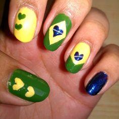 Crazy about Brazil! DIY nail art! https://theclosetplebeians.wordpress.com/2015/06/19/nail-art-on-a-budget-%E2%99%A5/