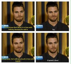 Captain of the OSS Olicity, Stephen Amell, is not impressed with your Oliver/Laurel insinuation