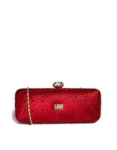Ingrandisci Love Moschino cristallo Encrusted Box Satin Clutch Bag