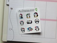 Mini Pearl the Penguin - emotions sampler functional planner stickers - Happy Planners, Erin Condren, Recollections by Green Darner Designs  Pearl is so emotional these days! Fun little stickers for your planner.  You will receive one 3.5 x 5 sheet containing 20 permanent stickers measuring approximately .65h on white matte finish sticker paper, kiss cut to simply peel & stick. **Please note that colors may appear differently on different monitors.  Orders are shipped in a stay flat cardb...