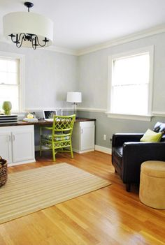 Love the green punch of color.  From Young House Love.