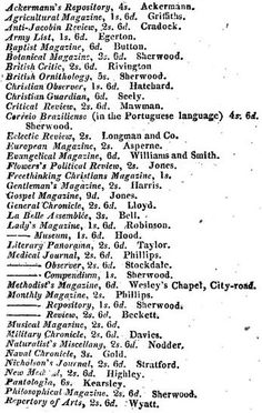 1813  Monthly Magazines, London.     From: Picture of London, Fourteenth edition. Published by Longman, Hurst, Rees, Orme, and Brown.  via Google Books (PD-150)  ©suzilove.com