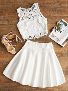 Cropped Crochet Eyelet Top And Skirt Set - White - White L Two Piece Homecoming Dress, Lace Homecoming Dresses, Two Piece Outfit, Two Piece Skirt Set, Top Y Pollera, Eyelet Top, Trends, Lace Tops, Trendy Fashion