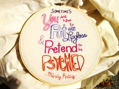 Mindy Kaling Lipgloss Quote Embroidery Hoop Art by lemondifficult