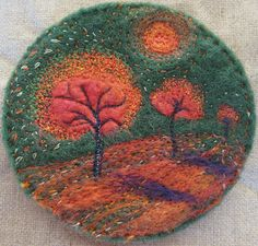 Autumn trees. embroidered wool brooch. - Kayla Coo, via Flickr.