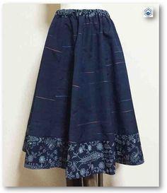 藍色紬×藍色ジャカード着物リメイクギャザーフレアスカート57(Mサイズ) | ハンドメイドマーケット minne