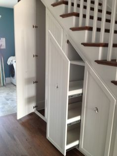 Storage under stairs. Gorgeous Under Stair Storage look Charleston Transitional Staircase Image Ideas with built-in storage closet closet organizers hidden storage pull-out shelves pull-out storage secret closet stair Closet Storage, Built In Storage, Basement Storage, Closet Shelves, Secret Storage, Attic Storage, Pantry Storage, Shoe Closet, Bedding Storage