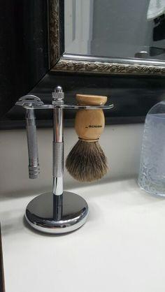 Shaving badger brush and Merkur DE razor