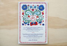 Mexican Embroidery Fiesta wedding Invitation-cute for stationary or thank you notes