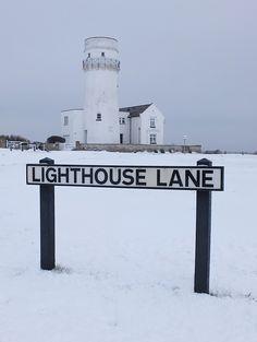 Snow at Hunstanton Lighthouse, Norfolk, England