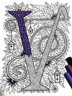 Letter V Zentangle Inspired by the font Penelope - decorated with flowers, leaves, tree patterns, and birdhouses! Stencil, Birdhouse Designs, Hand Drawn Flowers, Zentangle Patterns, Zentangles, Doodle Designs, Flower Doodles, Rainbow Art, Mail Art