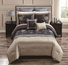 Comforter Cover Beige and Brown with Art Work - 4 Piece King Comforter Sets, Comforter Cover, Bedding Sets, Duvet Covers, Embroidered Bedding, Bed In A Bag, Bed & Bath, Cozy House, Comforters