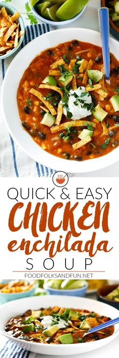 This quick and easy Chicken Enchilada Soup recipe is cheesy thick and deliciously loaded with black beans corn tomatoes green chili and cheese! The best part is that its ready in 30 minute or less! Chicken Enchilada Soup, Chicken Soup Recipes, Chicken Enchiladas, Recipe Chicken, Chicken Chili, Slow Cooker Soup, Quick Easy Meals, Easy Dinners, Quick Recipes