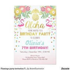 Flamingo party invitation Tropical Birthday luau | Shop the hundreds of birthday and party invitation designs on Zazzle, where you can completely customize them! Unique designs made for you- boho, bohemian, whimsical, rustic, vintage, romantic, fun, summer, winter, fall, spring, Disney, kid's birthdays, first birthday, unique, colorful, modern, classic, chic - the possibilities are endless!