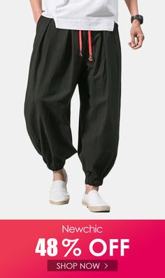 Coolred-Men Cotton Chinese Style Loose-Fit Relaxed-Fit Summer Harem Pants