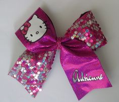 Add Your Name Cheer Bow Inspired by Hello Kitty by SportingPrideBows on Etsy