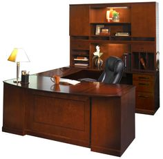 Double Pedestal U Shaped Bow Front Desk With Hutch Bourbon Cherry (Right  Return) By