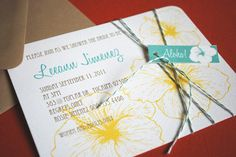 Vintage Hawaiian invitation, teal and yellow. $2.25, via Etsy.