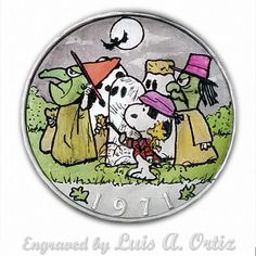 Snoopy's Trick or Treat Ike Hobo Nickel Colored & Engraved by Luis A Ortiz Hobo Nickel, Trick Or Treat, Hand Carved, Coins, Carving, Things To Sell, Rooms, Wood Carvings, Sculptures