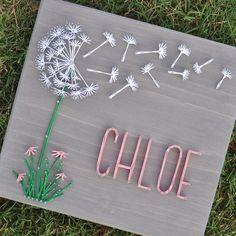 Welcome to the world baby chloe 👶👣stringart classicgraystain sandstainhammerstringrepeat dandelion babygirl nurserydecor Nail String Art, String Crafts, Cute Crafts, Diy And Crafts, Arts And Crafts, Wood Painting Art, Wood Art, Diy Wall Art, Diy Art