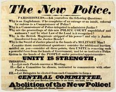 Poster raising objections against Robert Peel's new police. Raising, 19th Century, Britain, Police, College, Community, This Or That Questions, Learning, Poster