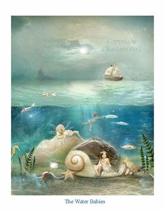 The Water Babies A1 Stretched canvas   by CharlotteBirdfairies, $104.00