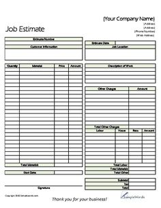 Free Print Contractor Proposal Forms Estimate Printable Sample Doent Templates And