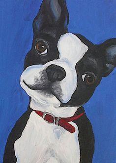 ACEO Art Print of Original Painting Boston Terrier by RMBPetStudio, $4.00