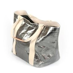 metallic Peltro #UASHMAMAGiuliaShopperS  handgenähte Papiertasche-Shopper aus Italien von #Uashmama - Gefunden auf #KONTOR1710