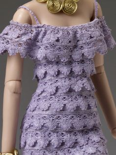 """#Pin2Win $89.99 Cami & Jon """"Purple Haze Tonner Doll Company Outfit only  Fits dolls such as Cami & Jon™ and Antoinette™  Light purple lace ruffle dress  Gold faux leather shoes  Gold spiral bracelet  Gold spiral necklace  LE 300"""
