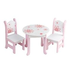 """18 Inch Doll Furniture Fits American Girl Dolls - 18 """" Floral Table and Chairs"""