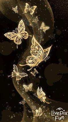 🦋Golden butterflies live wallpaper for android phones! Dragonfly Wallpaper, Blue Butterfly Wallpaper, Butterfly Live, Butterfly Background, Bling Wallpaper, Butterfly Images, Flower Phone Wallpaper, Butterfly Painting, Iphone Background Wallpaper
