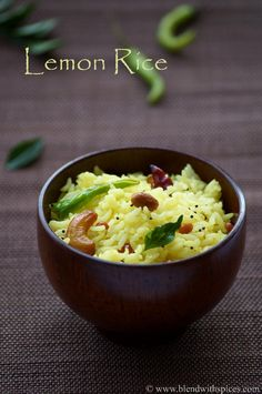Lemon Rice Recipe - Nimmakaya Pulihora Recipe - Chitranna Recipe - South Indian Recipes   Indian Cuisine