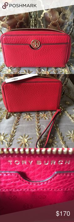 🎉SALE🎉Tory Burch Red Robinson Wristlet Tory Burch Red Robinson Pebbled Leather Smartphone Wristlet.  Brand new with tags.  Gorgeous color to carry your personal belongings. Tory Burch Bags Clutches & Wristlets