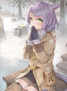 Anime neko girl with bright purple hair with green eyes with red stripes on her face, while blowing warm air on her hands to stay warm, while wearing a white/tan/brown jacket with short black dress with brown leggings keeping her warm, and black gloves. Anime Neko, Kawaii Anime Girl, Manga Anime, Anime Girl Neko, Anime Art Girl, Anime Girls, Fan Art Anime, Anime Artwork, Manga Girl