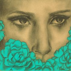 Portrait of Woman with Teal Blue Flowers Print 6x6 inches $10