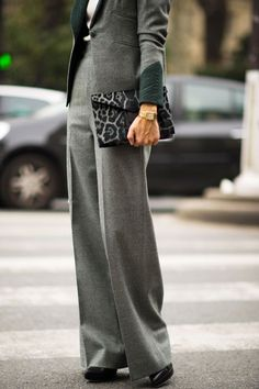 Lovely grey suit and animal clutch.... classic womens suit with a vintage twist