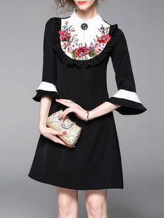 Black A-line Color Blockl Frill Sleeve Mini Dress
