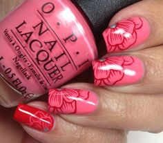 Colores de Carol: OPI Coca Cola Nail Art; Sorry I'm Fizzy Today stamped using the plate W04 from Winstonia