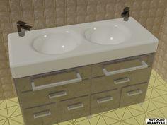 Otra vista de lavamanos doble