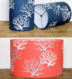 Coral lampshades: http://www.completely-coastal.com/2016/04/coastal-beach-nautical-lamp-shades.html Cylinder and Drum Lamp Shades in Coral and Blue with Coral Branch Design.