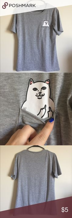 Pocket T!! Middle finger cat t! Super comfy fit. A little tight in the chest area but perfect otherwise. Smoke and pet free home! Tops Tees - Short Sleeve
