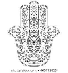 Find Hamsa Hand Drawn Symbol Decorative Pattern stock images in HD and millions of other royalty-free stock photos, illustrations and vectors in the Shutterstock collection. Hand Tattoos, Hamsa Hand Tattoo, Hamsa Art, Mandala Art, Mandala Painting, Hamsa Tattoo Design, Hamsa Design, Colouring Pages, Coloring Books