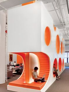 Interesting work space with cubbies for people