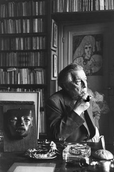 Andre Breton by Henry Cartier -Bresson. Breton was one of the founders of the surrealist literary movement.