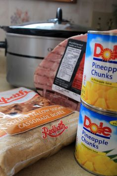 Crock pot ham. Pre-cooked bone in ham, 3 cups brown sugar, 2 cans pineapple tidbits, undrained.  Cook 4 or 5 hours on low.